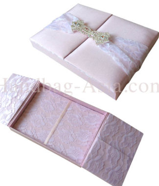 blush pink lace invitation box