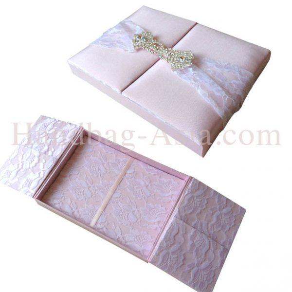 blush pink lace invitation box