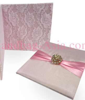 Blush pink lace wedding pocket folder