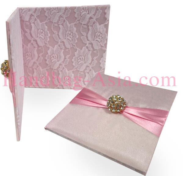 Blush pink lace wedding pocket folder