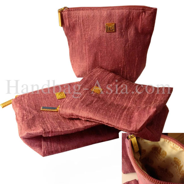 dupioni silk cosmetic bag