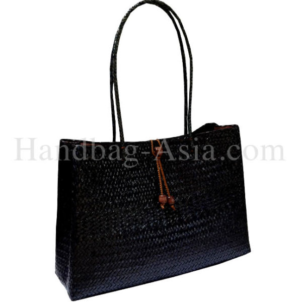 Large black bamboo handbag from Chiang Mai