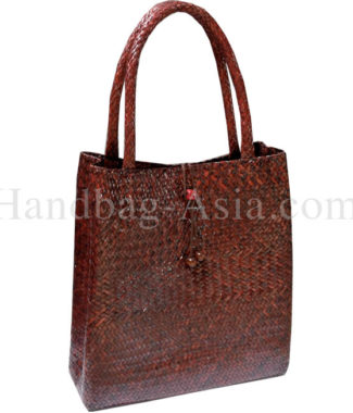 large brown bamboo bag