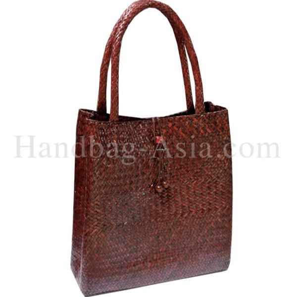 large brown bamboo bag