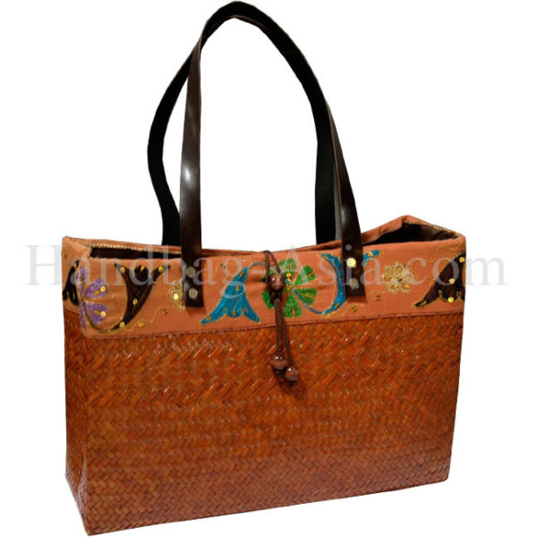 brown bamboo bag