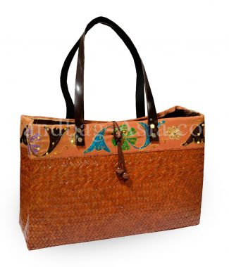 Brown Thai bamboo handbag with leather handle