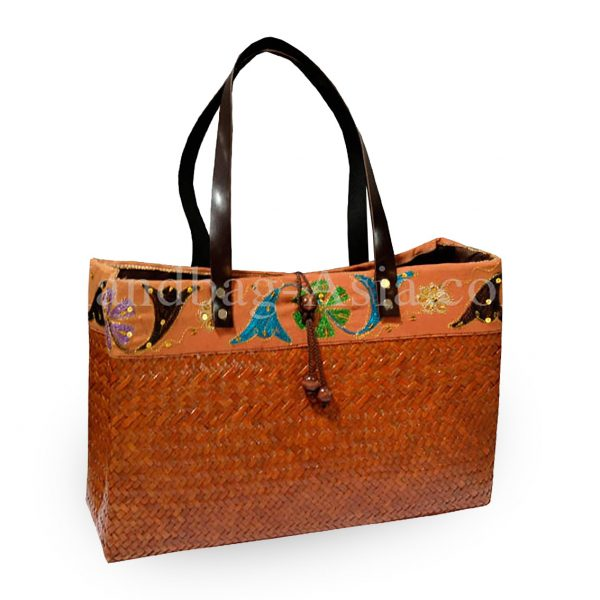 Brown Thai bamboo handbag with leather handle
