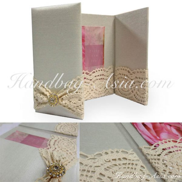 luxury lace invitation pocket folder