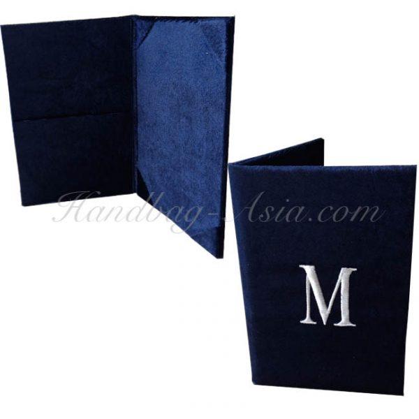monogram embroidered velvet wedding invitation