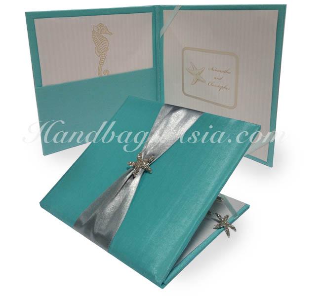 Beach Themed Silk Folio For Wedding Invitation Cards