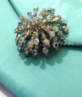 tiffany wedding invitation envelope with rhinestone brooch