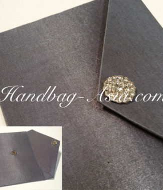 Luxury silver cardboard wedding envelope with brooch