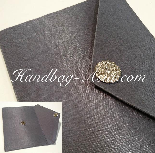 Luxury Silver Cardboard Wedding Envelope With Brooch