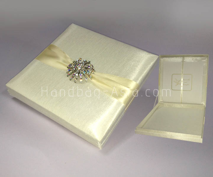 luxury ivory silk wedding invitation box with large brooch With wedding invitation box cost