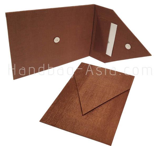 brown silk presentation envelope with pocket