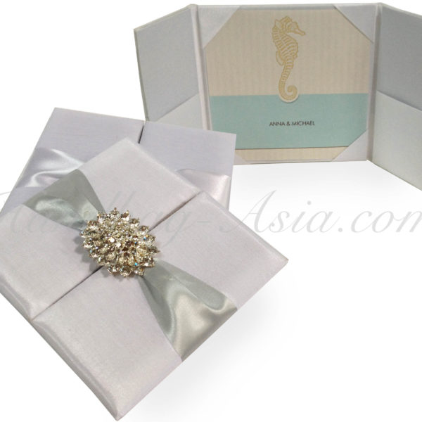white wedding invitation folder