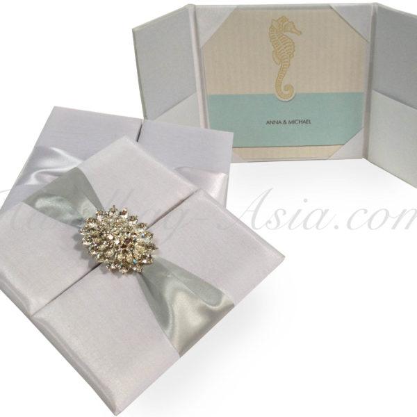 white wedding invitation folder