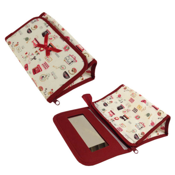 cotton cosmetic bag with mirror