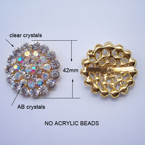 large golden round crystal brooch with ab stones