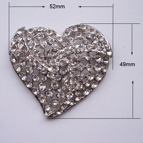 heart crystal brooch for couture invitations