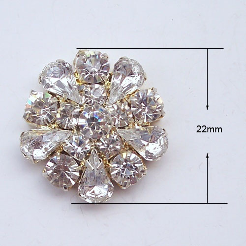 golden flat-back crystal button