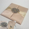 crown brooch embellished wedding folder
