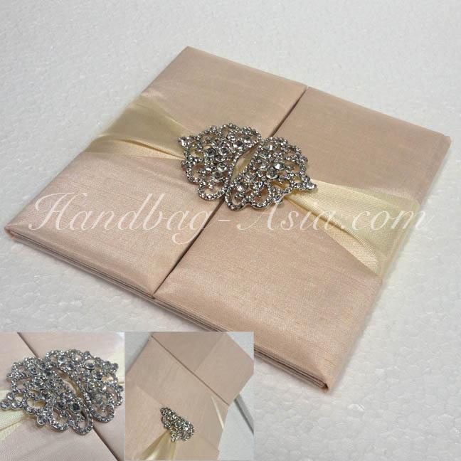 Crown Brooch Embellished Dupioni Silk Pocket Folder For