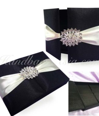 Embellished black wedding invitation box
