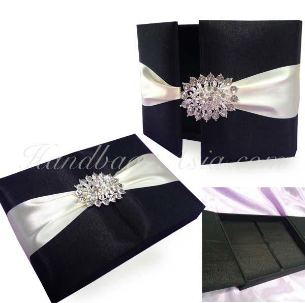 Embellished black wedding invitation box