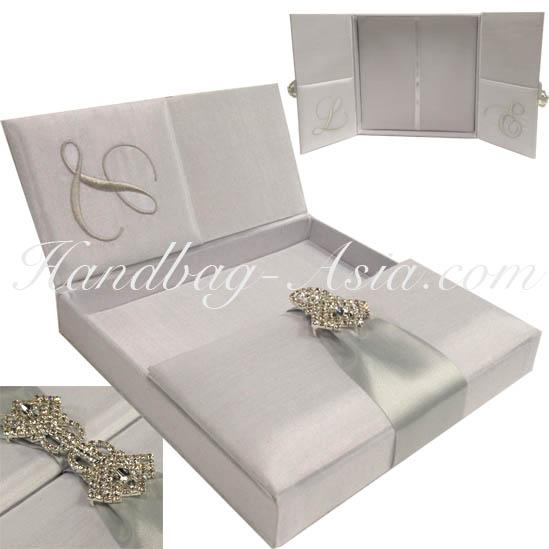 Unique Wedding Invitations In A Box: White Monogram Embroidered Silk Box For Wedding