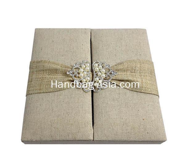 hemp boxed wedding invitation