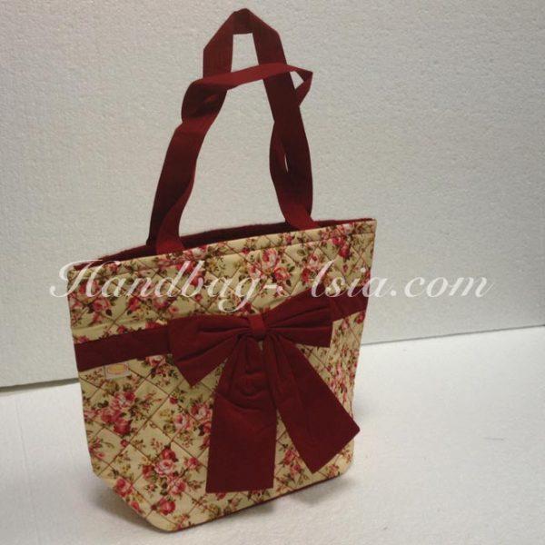 Thai cotton bag with rose pattern
