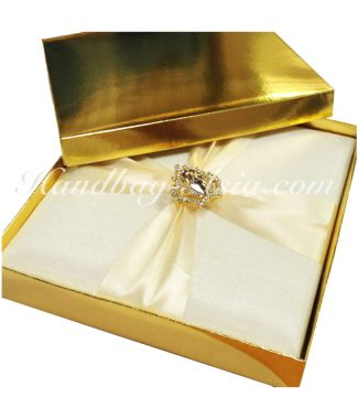 Metallic gold mailing box for wedding invitations