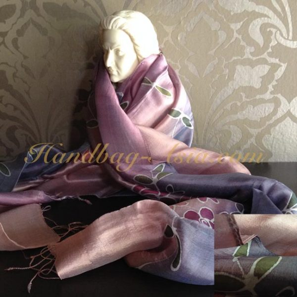 painted silk shawl with flowers