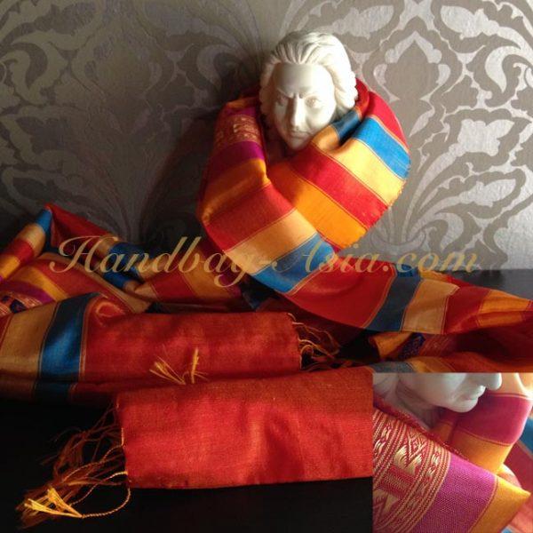 orange silk shawl from Chiang Mai