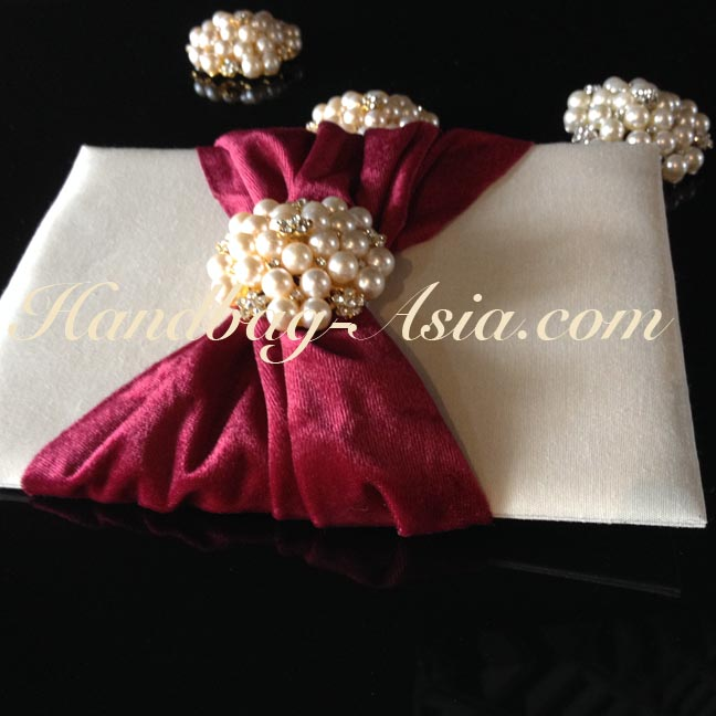 Luxury Silk Invitation Pad With Large Pearl Brooch And Velvet Lace