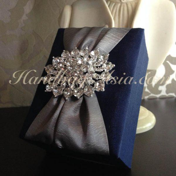 Luxury royal blue silk box