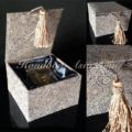 brown cotton jewellery box with tassel hanger
