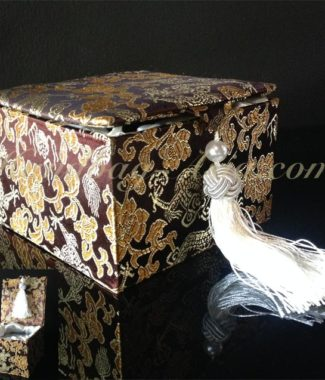 brown Chinese brocade silk gift box with tassel