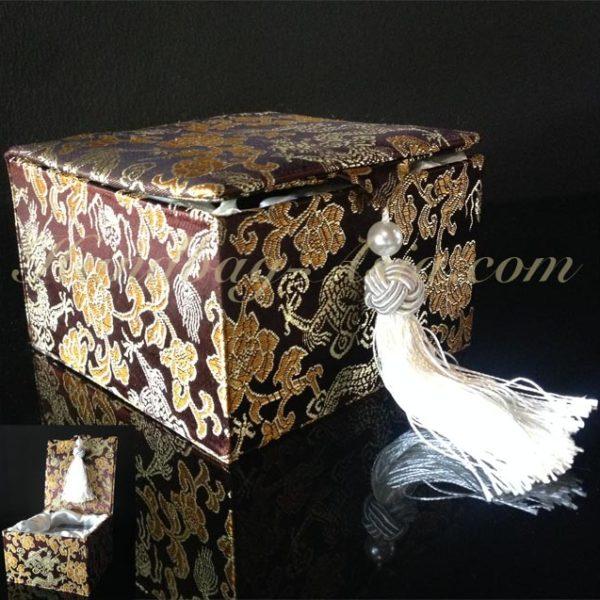 brown Chinese brocade silk gift box with tassel