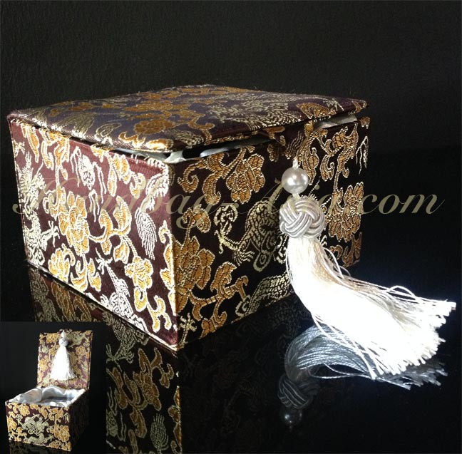 Luxury Brown Chinese Brocade Silk Gift Box With Tassel Embellishment Gorgeous Chinese Decorative Boxes