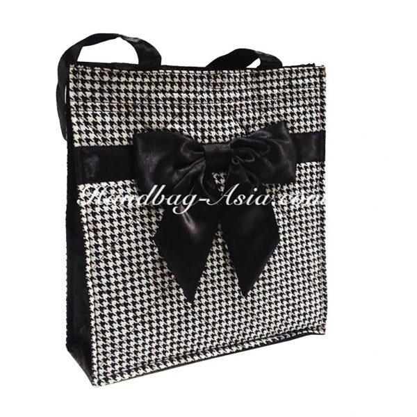 Black & White Quilted Cotton Handbag