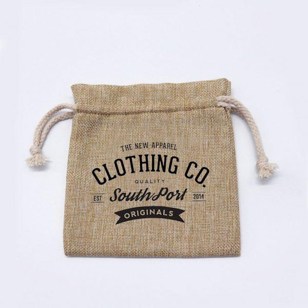 logo printed hemp drawstring bag
