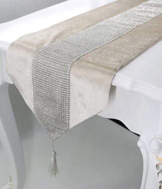 Flannel Table Runner With Rhinestones