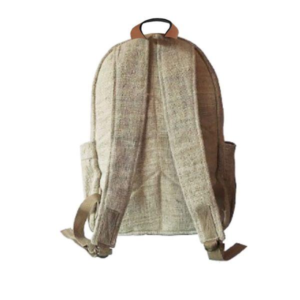 backside of hemp backpack