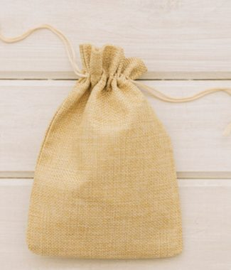 Beige Jute Drawstring Bag