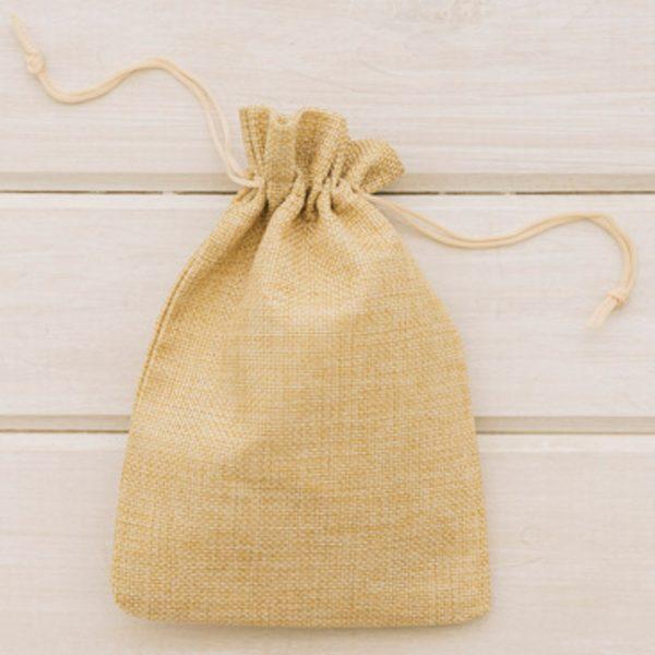 Beige Jute Drawstring Bag