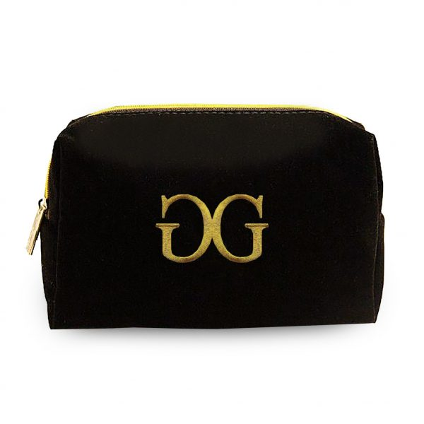 Black velvet cosmetic bag with golden embroidery