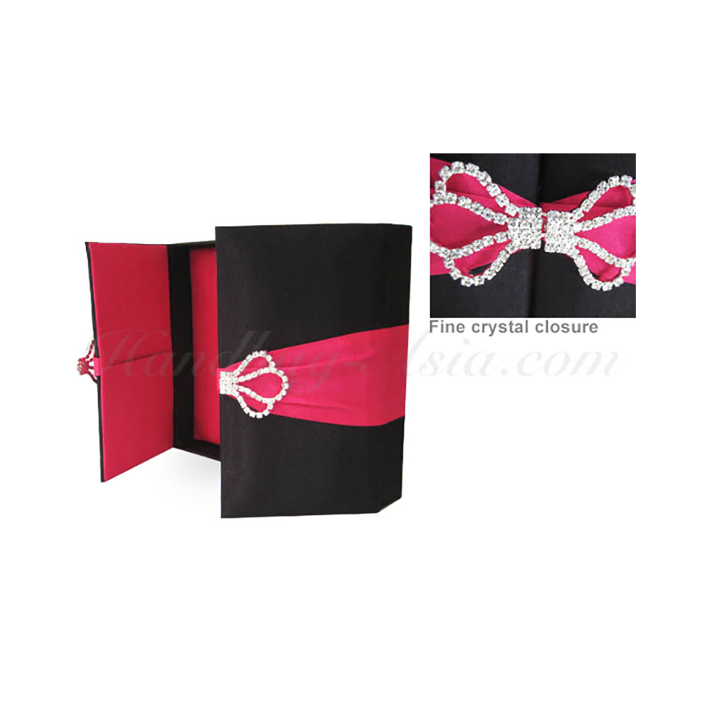 Black & Fuchsia Pink Silk Wedding Box With Rhinestone Brooch Lock