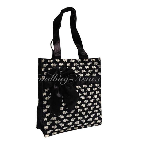 Black & White Quilted Thai Cotton Elephant Handbag